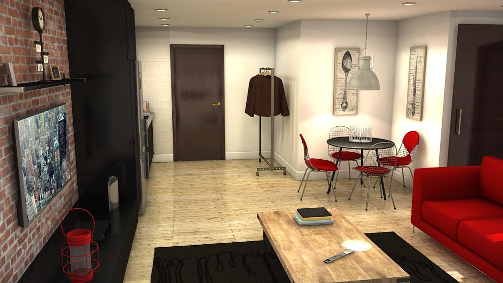 Interiorismo residencial, apartamento industrial