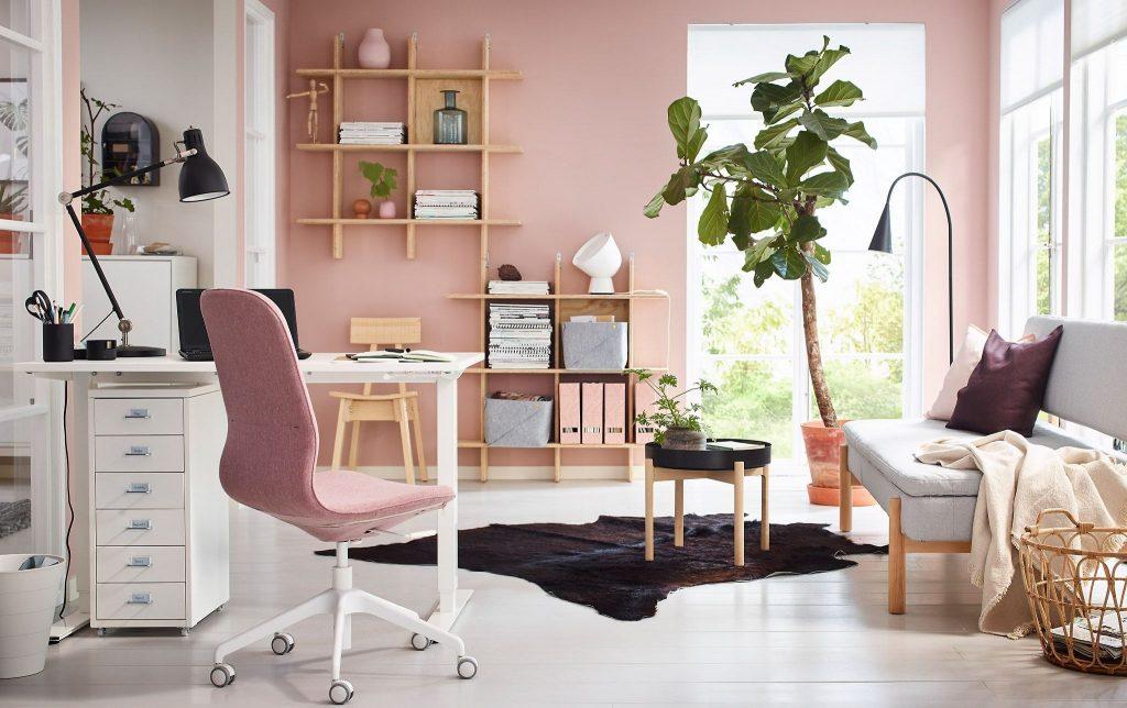 oficina con diseño rosa
