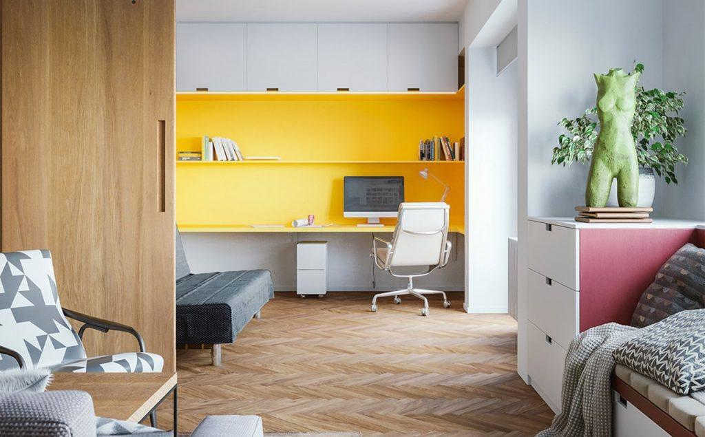 oficina con diseño amarillo